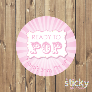 Personalised 'Ready to Pop' Baby Shower Stickers - Pink Circus Stickers